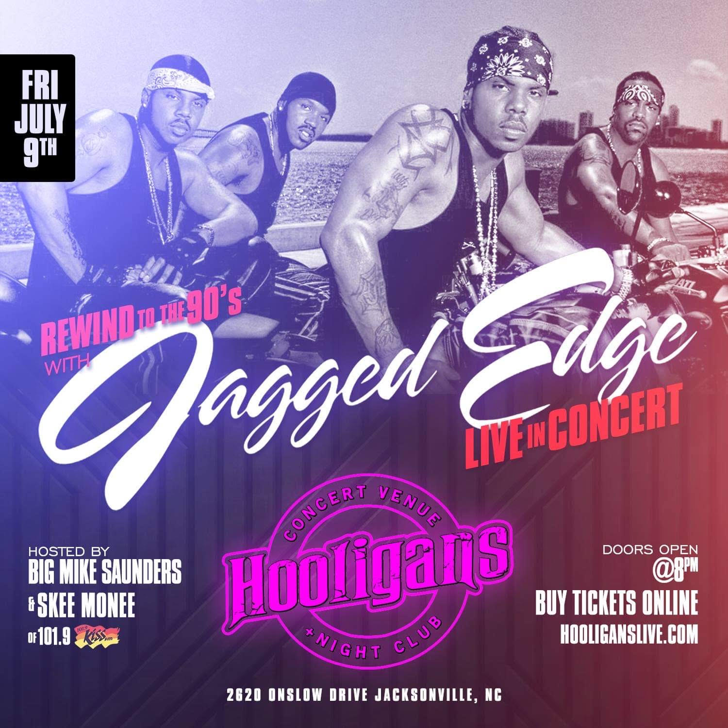 Jagged Edge LIVE July 9th at Hooligans in Jacksonville