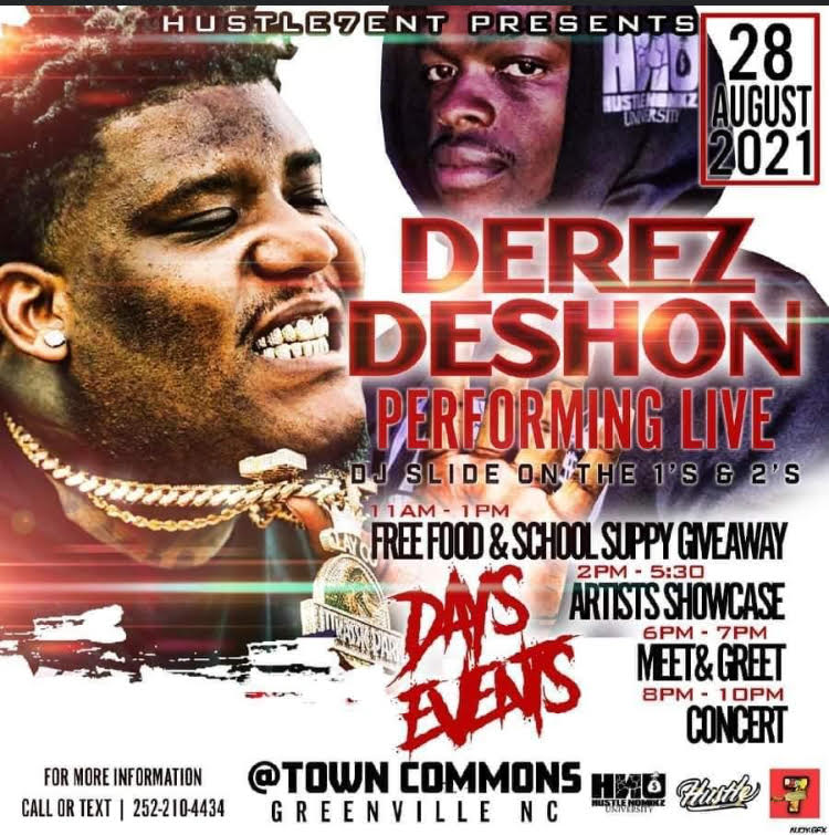 Derez DeShon Performing LIVE @ Town Commons in Greenville August 28th