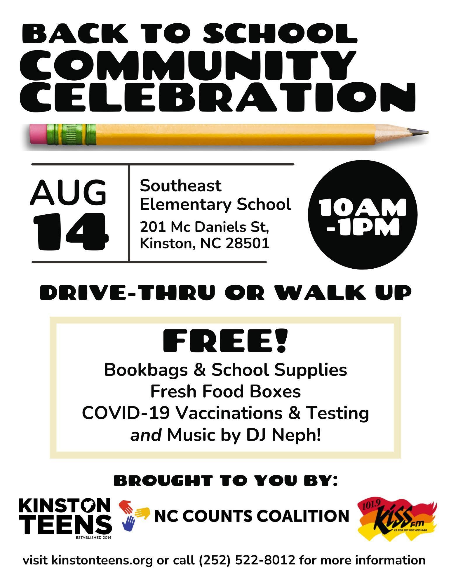 Back to School Community Celebration August 14 in Kinston at Southeast Elementary School