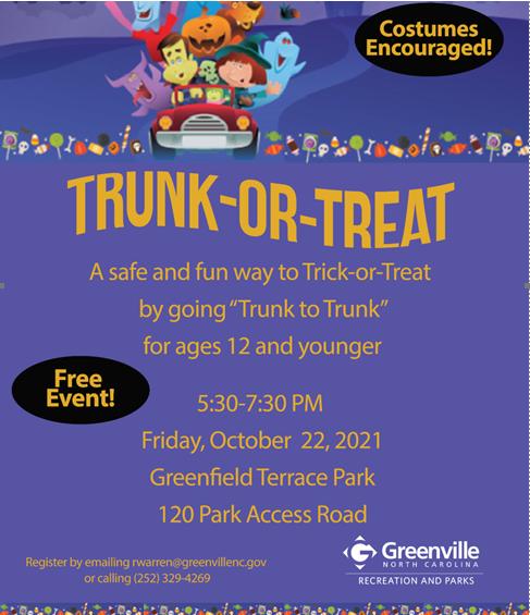 Trunk Or Treat @ Greenfield Terrace Park in Greenville
