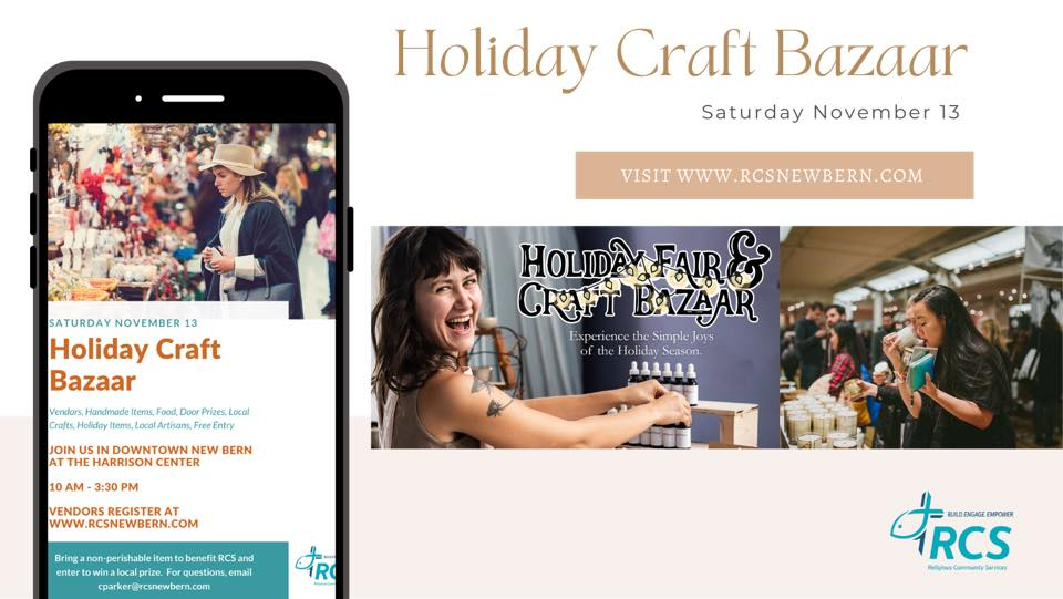 Religious Community Services of New Bern: FREE Holiday Craft Bazaar, November 13, 2021