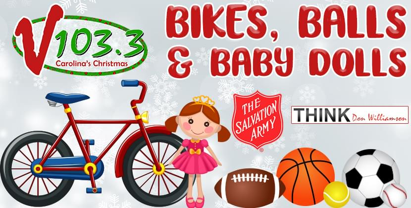 V103.3's Bikes, Balls & Baby Dolls Donation Drive for Salvation Armies of ENC!