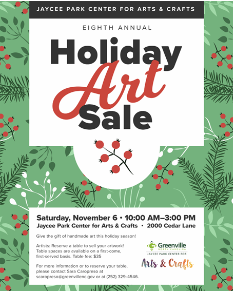 Holiday Art Sale @ Jaycee Park Center for Arts & Crafts in Greenville