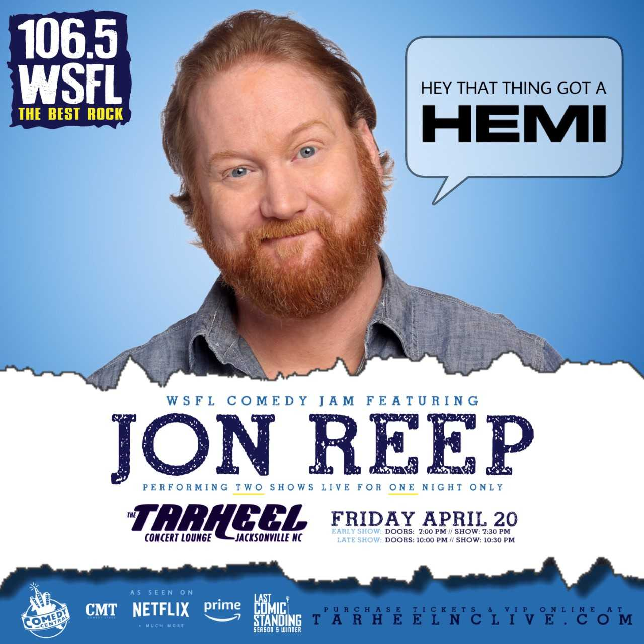 Comedian Jon Reep Calls in to Man Made Radio with a Preview of the WSFL Comedy Jam!