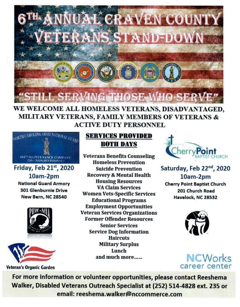 6th Annual Craven County Veterans Stand-Down, Day 1