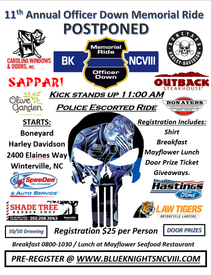 Blue Knights NCVIII Annual Officer Down Memorial Ride *CANCELLED*