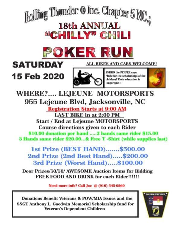 "Rolling Thunder NC5 ""Chilly"" Chili Poker Run"