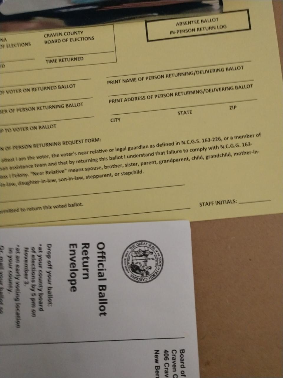 Dropping Off Your Absentee Ballot at the Craven County Board of Elections