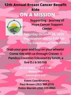 12TH Annual Breast Cancer Ride @ Harley-Davidson of New Bern