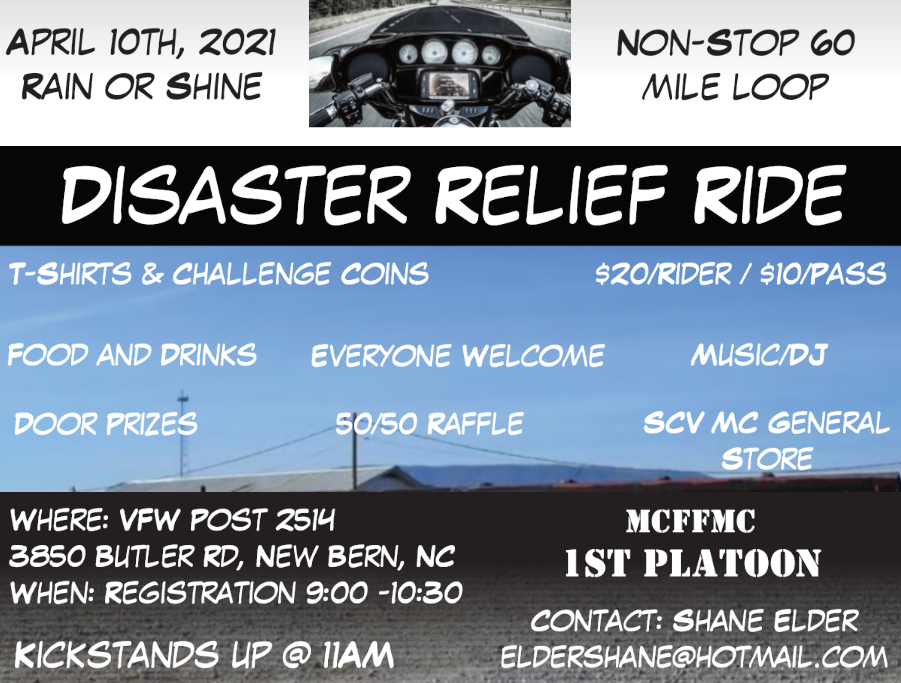 Disaster Response Team Benefit Ride @ VFW Post 2514, New Bern