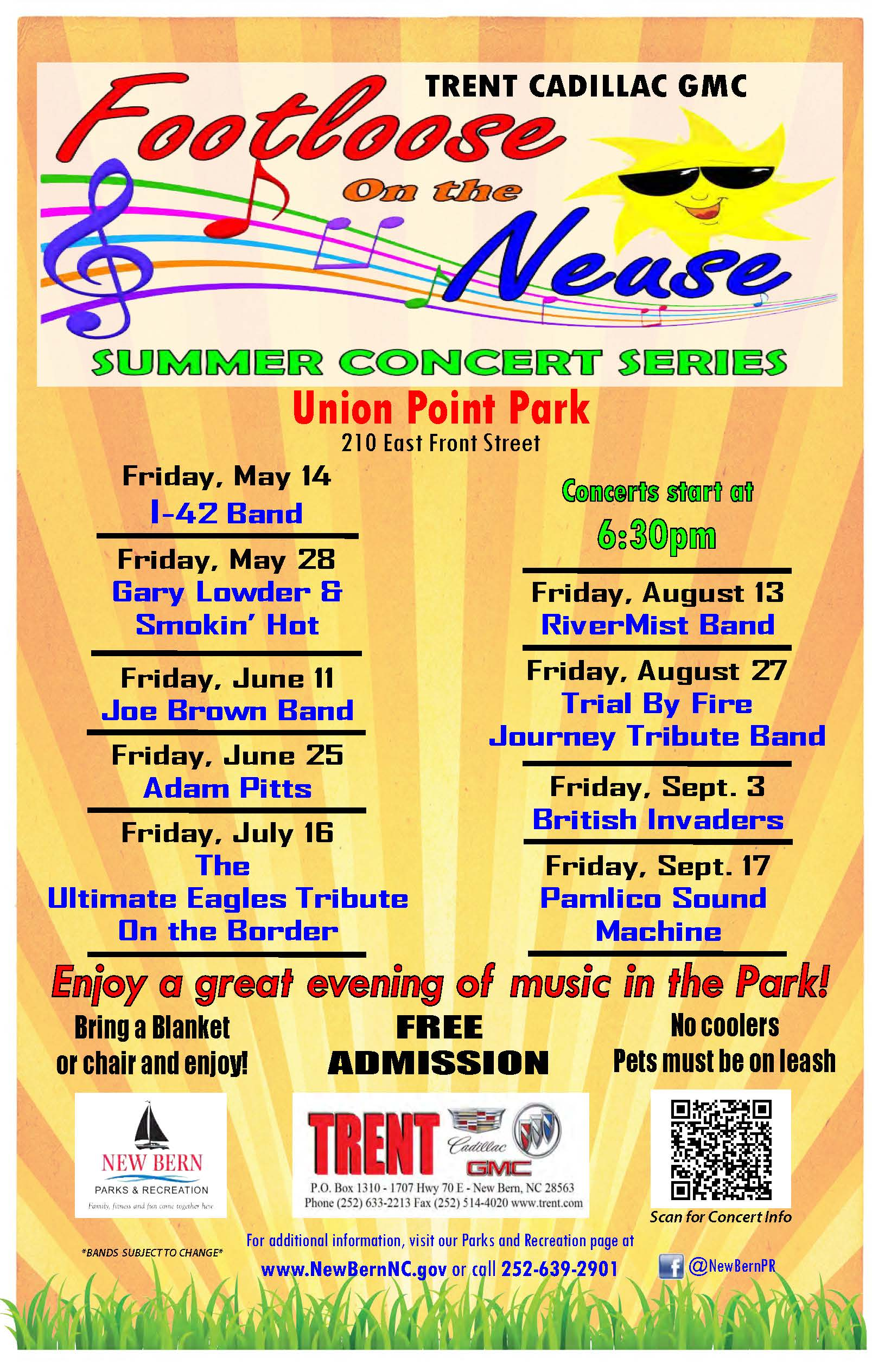 Footloose On The Neuse: Summer Concert Series @ Union Point Park in New Bern