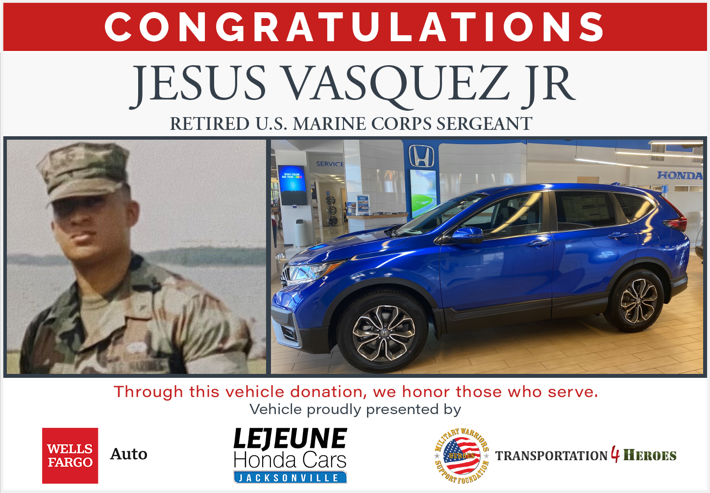 Local Veteran to Receive New Vehicle in Jacksonville