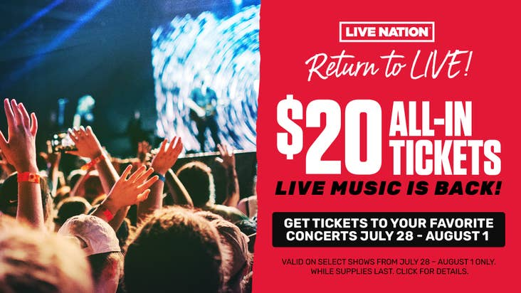 """Live Nation's $20 All-in """"Return To Live"""" Concert Tickets!"""