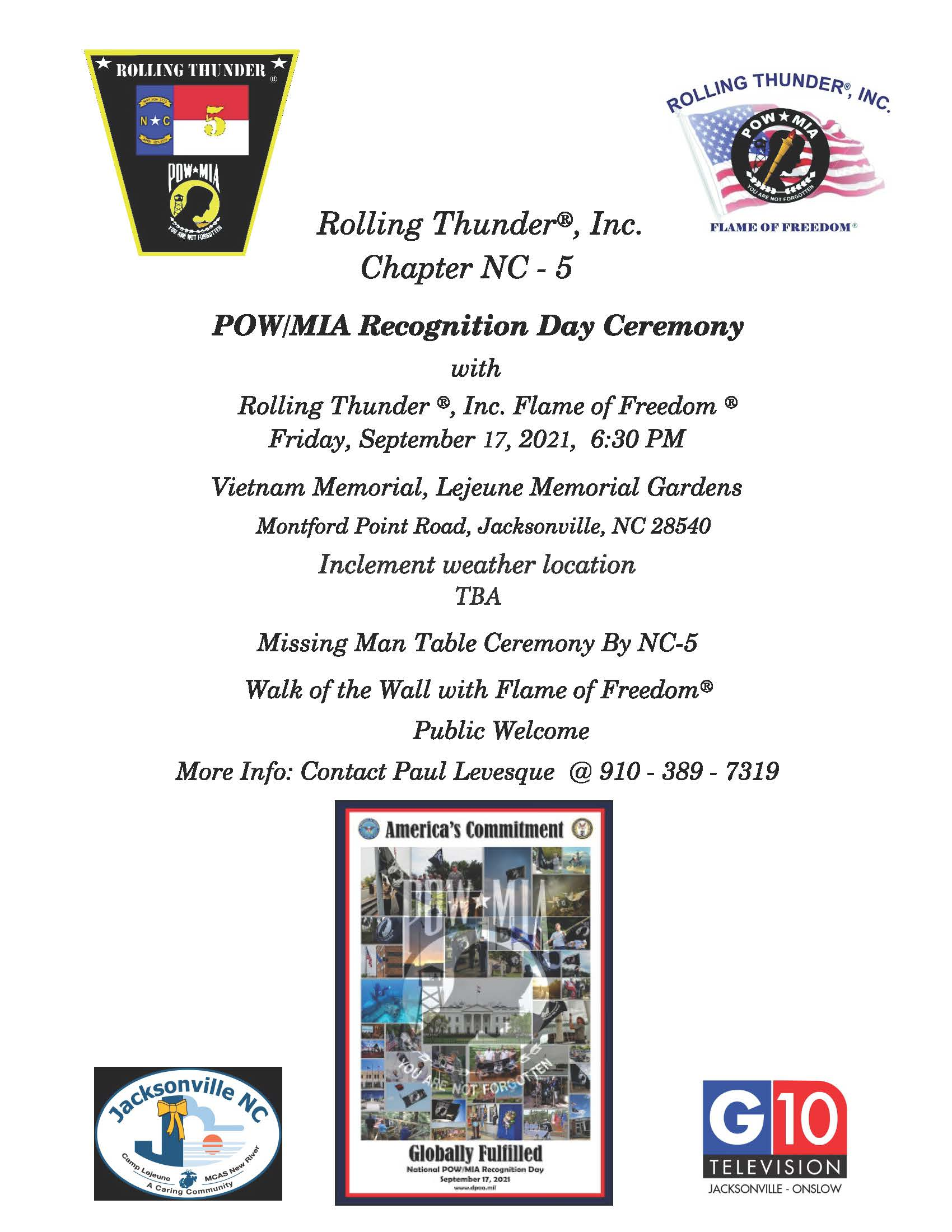 Rolling Thunder NC-5 POW/MIA Recognition Day Ceremony