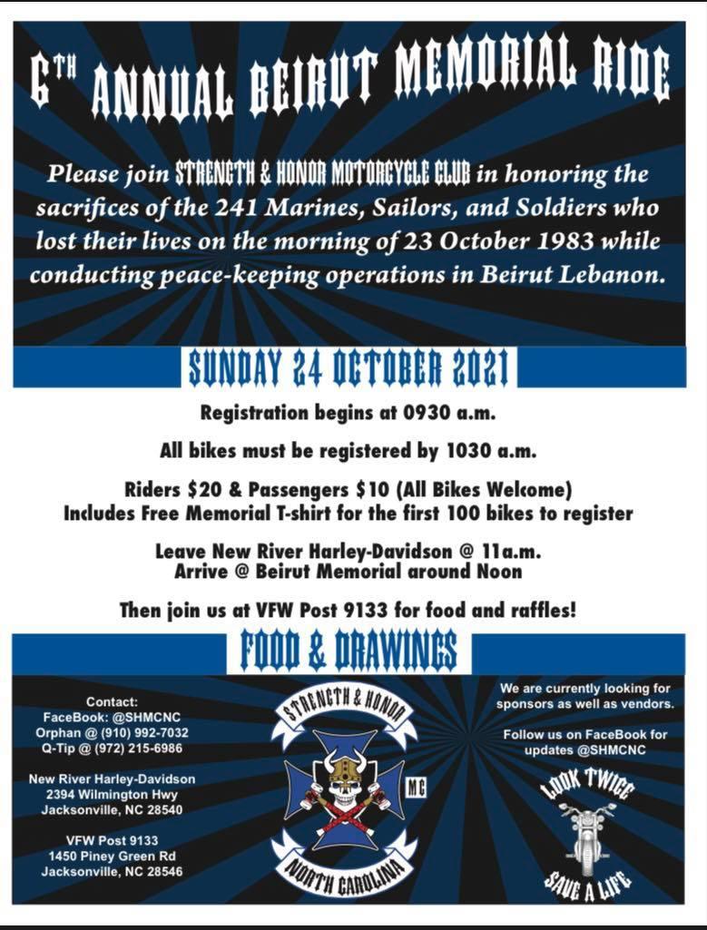 6th Annual Beirut Memorial Ride @ New River Harley-Davidson, Jacksonville