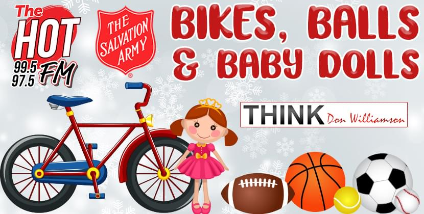 The Hot FM's Bikes, Balls & Baby Dolls Donation Drive for Salvation Armies of ENC!