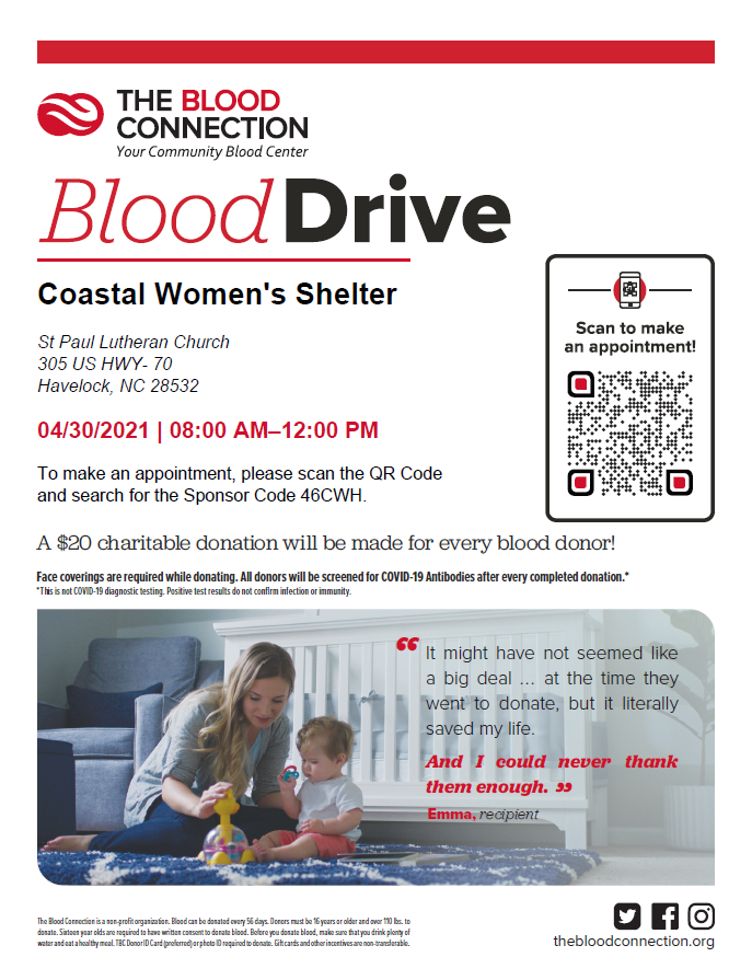 Blood Drive For Coastal Women's Shelter