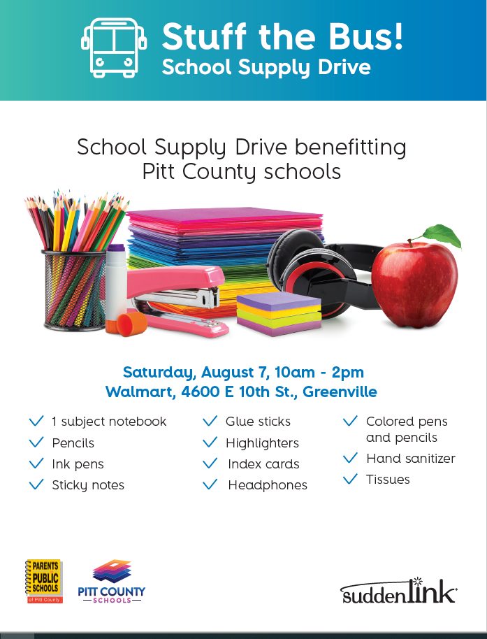 Stuff The Bus School Supply Drive Benefitting Pitt County Schools