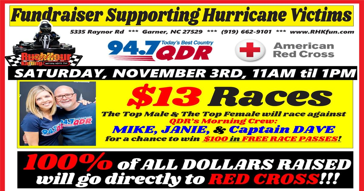 Mike and Janie at Rush Hour Karting for Hurricane Relief