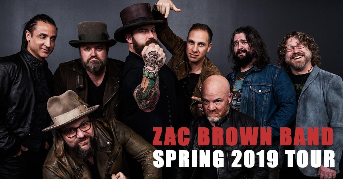 ZAC BROWN BAND  ANNOUNCES SPRING 2019 TOUR DATES