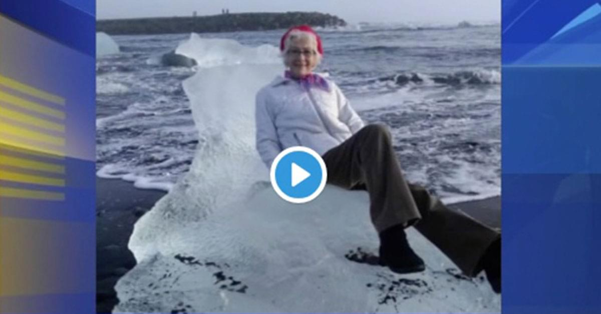 Photoshoot fail! Grandmother rescued from block of ice