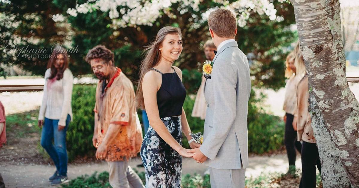 Prom Pics get Photo-Bombed by 'zombies'