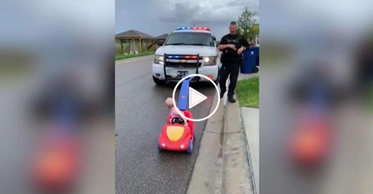 Watch: Cop Father Pulls Over His Baby Daughter