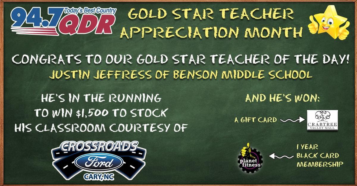 Gold Star Teacher Appreciation Month: Justin Jeffress