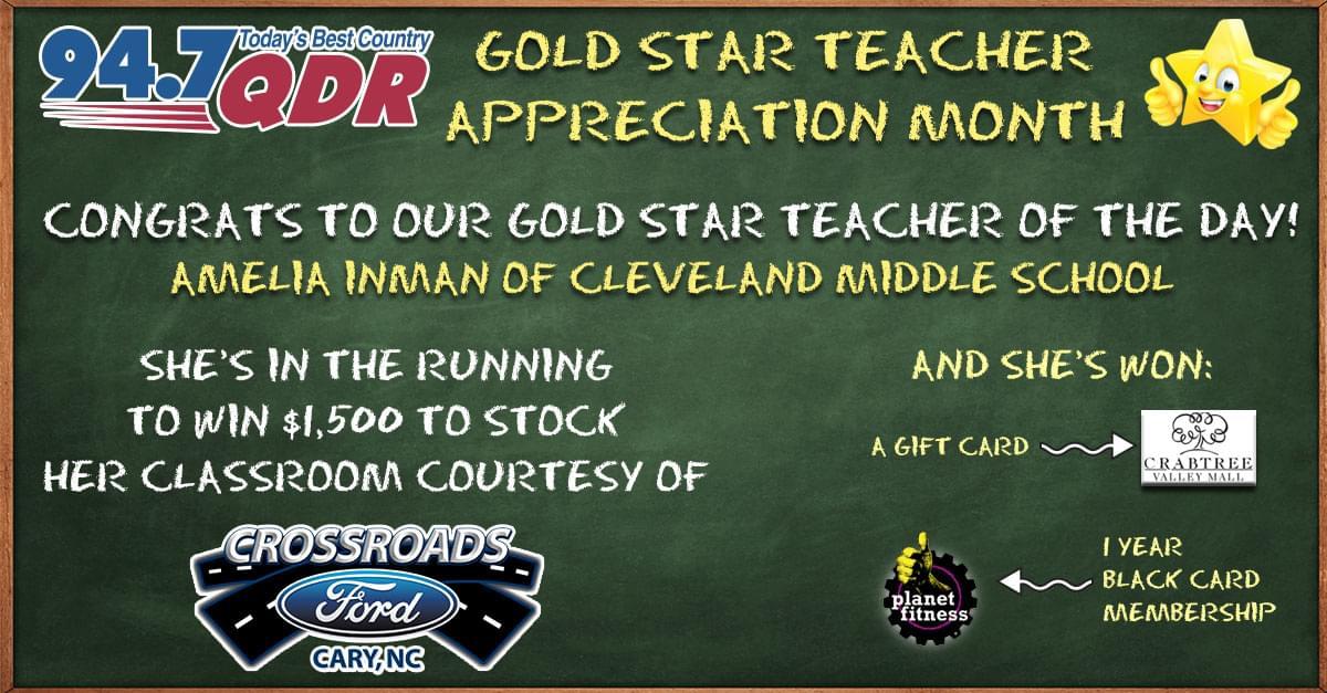 Gold Star Teacher Appreciation Month: Amelia Inman