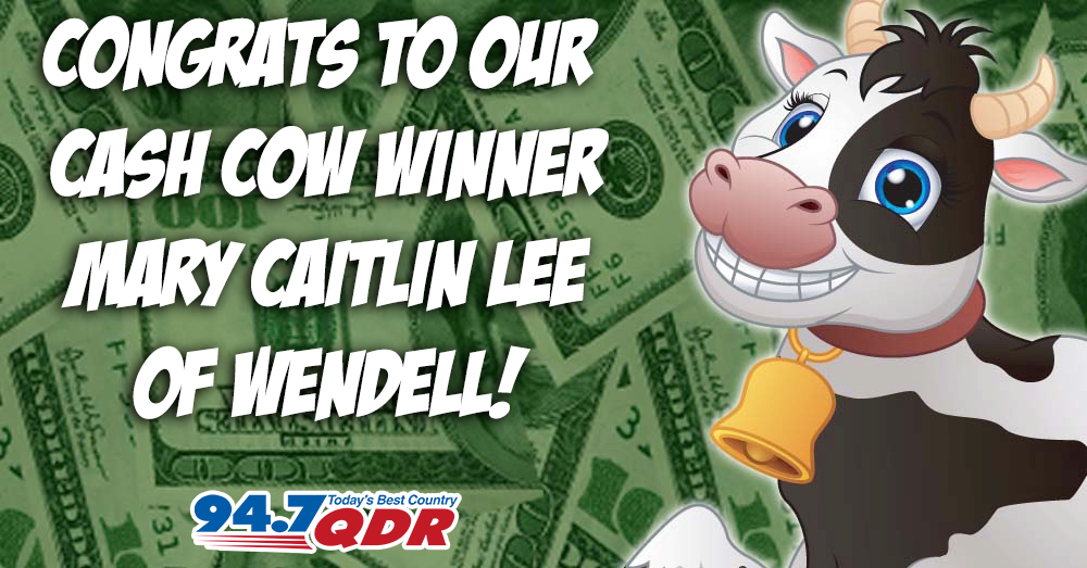 Congratulations to our QDR Cash Cow Grand Prize Winner!