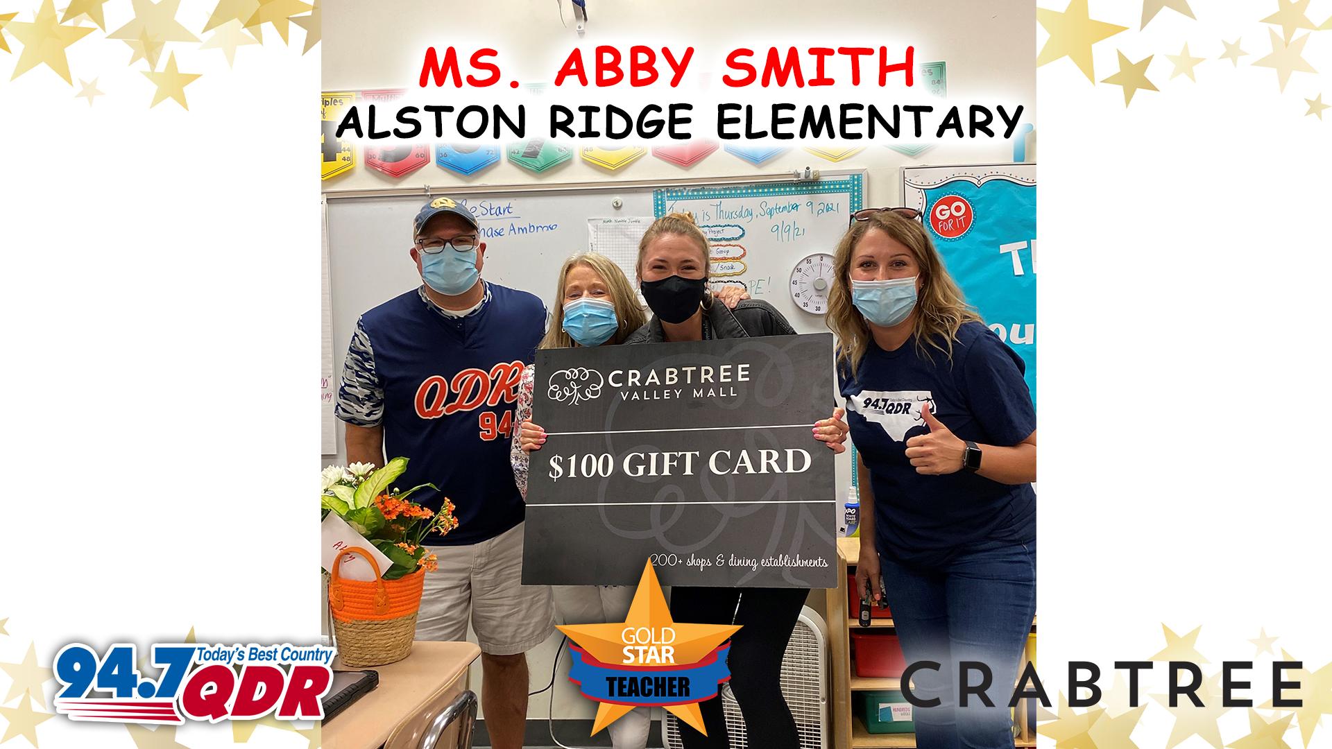 Gold Star Teacher September 2021 – Ms. Abby Smith!