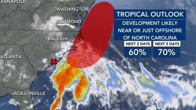 Tropical Storm Likely To Form Near NC Coast, Bringing Heavy Rain