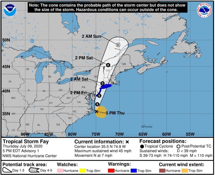 Tropical Storm Fay Forms Off NC Coast