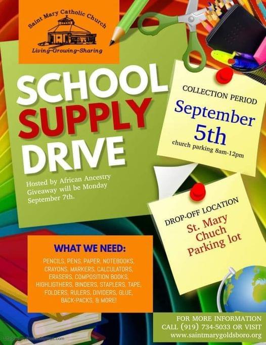 School Supply Drive Being Held Saturday