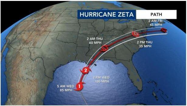 Remnants Of Hurricane Zeta To Bring Wind & Rain