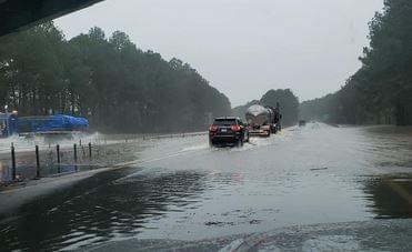 Heavy Rains Deluge North Carolina Roadways