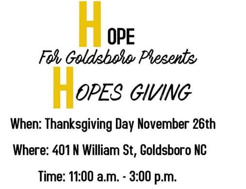ALL ARE WELCOME: HopesGiving Meal Set For Thursday