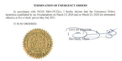 Kinston Rescinds COVID-19 Emergency Orders