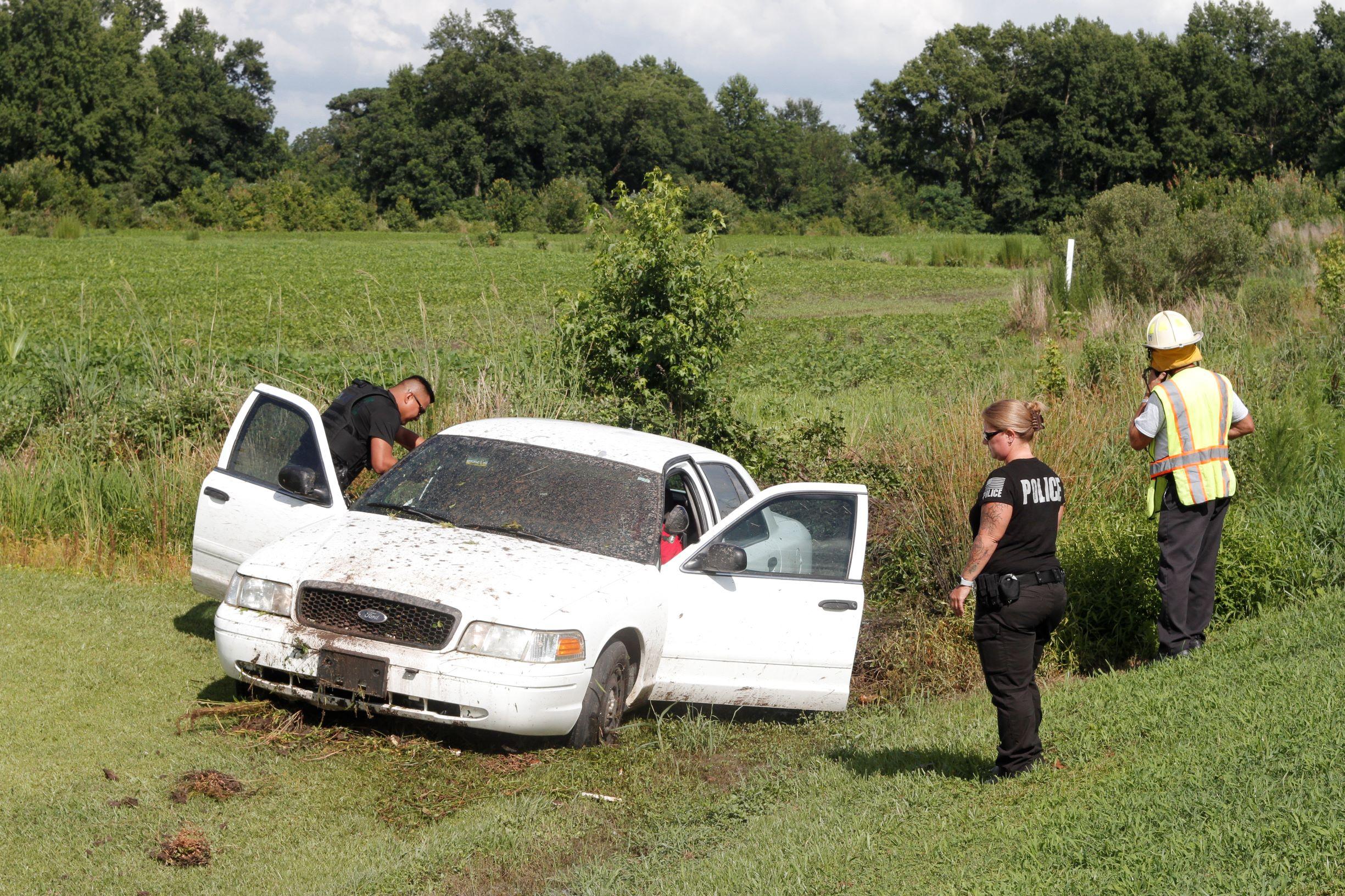 Vehicle Runs Off Hwy. 55 Near Mount Olive (PHOTOS)