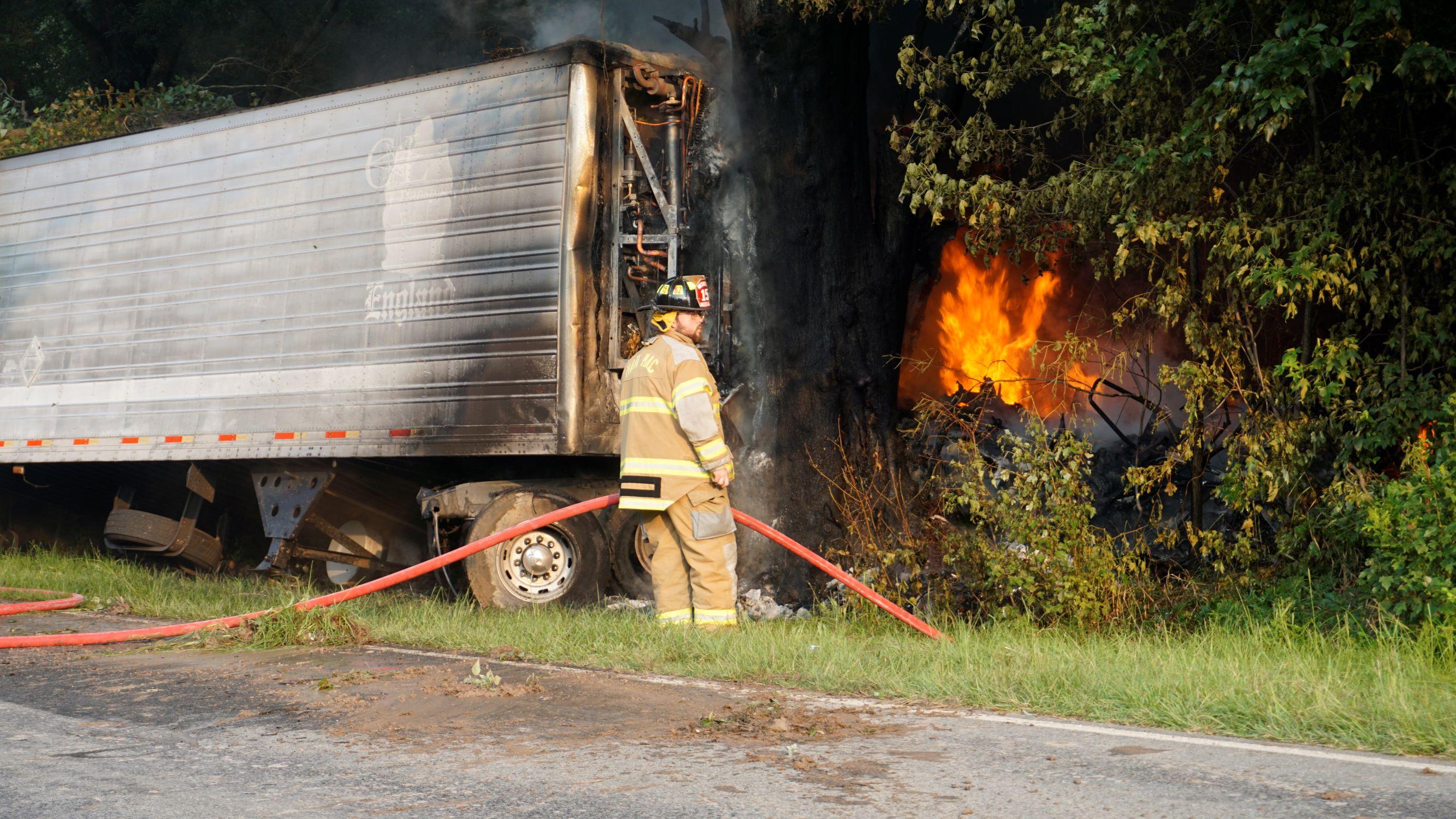 UPDATE: Driver Taken To Hospital Following Semi Crash (PHOTO GALLERY)