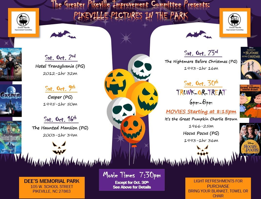 Pikeville Offers Free Movies In The Park Saturdays In October