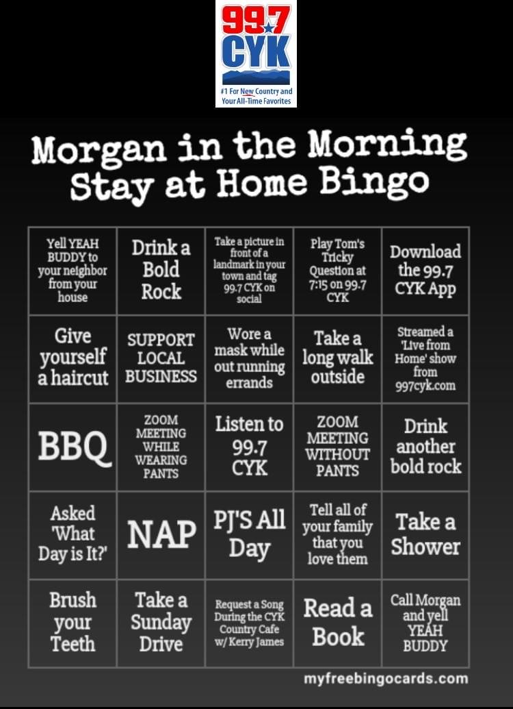 Play the Morgan in the Morning Stay at Home Bingo Game