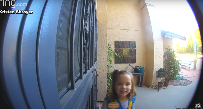 Watch This Adorable Girl Scout Cookie Sales Pitch Caught on Doorbell Camera [VIDEO]