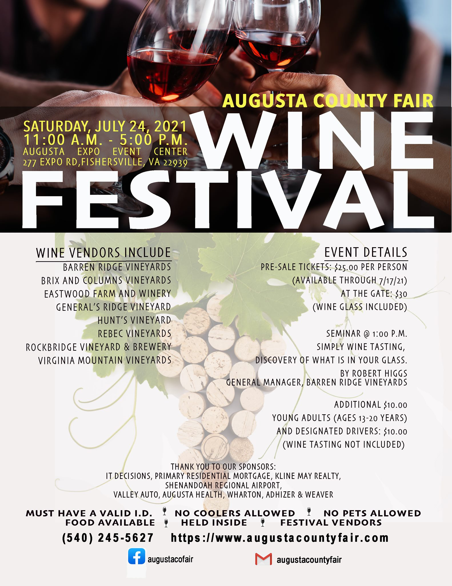 The Augusta County Fair Wine Festival  at Augusta Expo Event Center in Fishersville