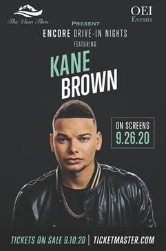 Kane Brown drive in show on September 26 from 8-10 pm