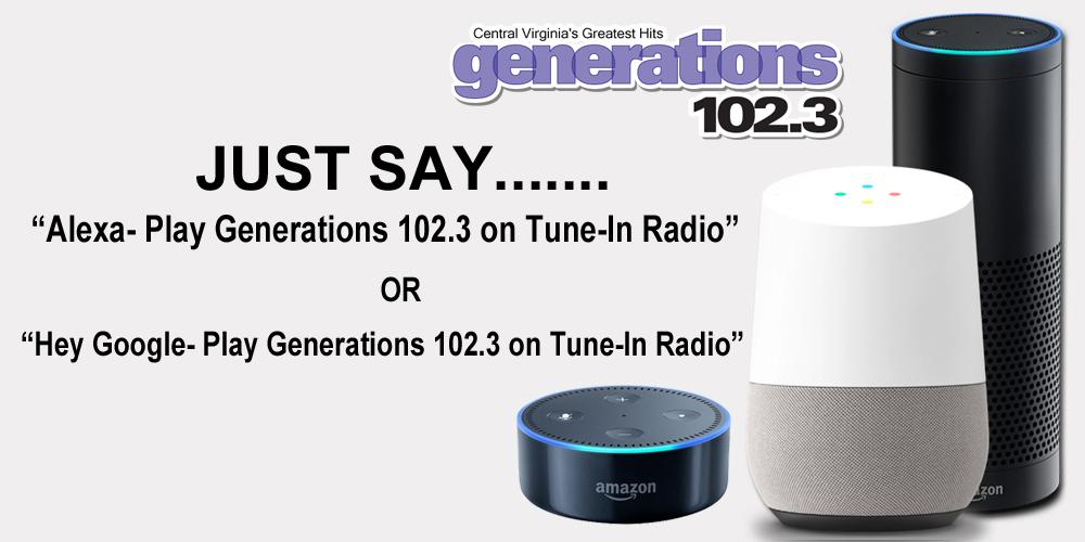 Alexa Play Generations 102.3 on Tune-In Radio