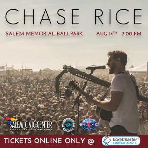 Chase Rice at Salem Memorial Ballpark-POSTPONED to May 21, 2021