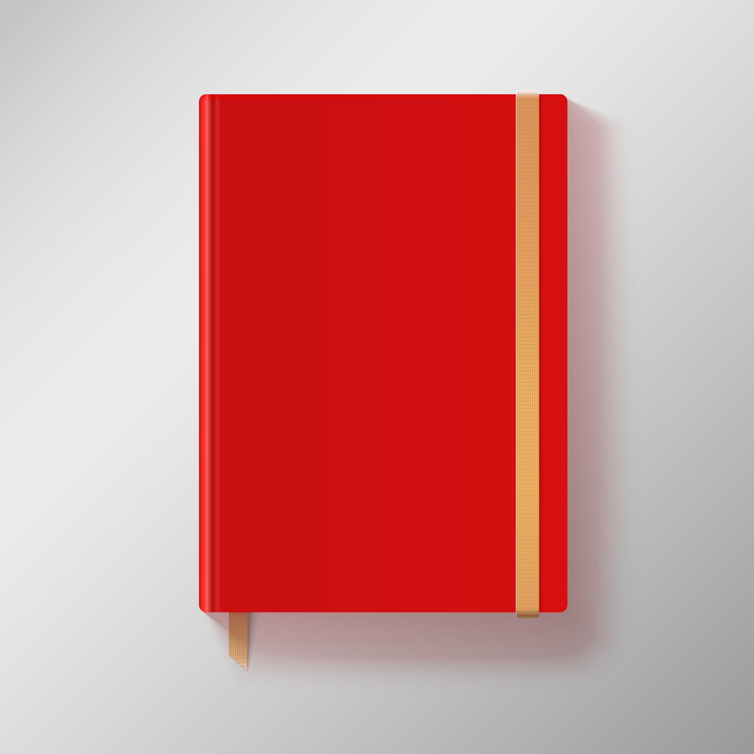 Red copybook with elastic band and gold bookmark.