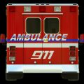Ambulance: Rear view of emergency services vehicle