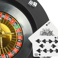 Spin casino roulette, dice,playing cards. Isolated